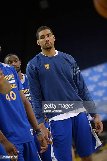 James Michael McAdoo of the Golden State Warriors looks on during practice and media availability as part of the 2016 NBA Finals on June 1 2016 at...