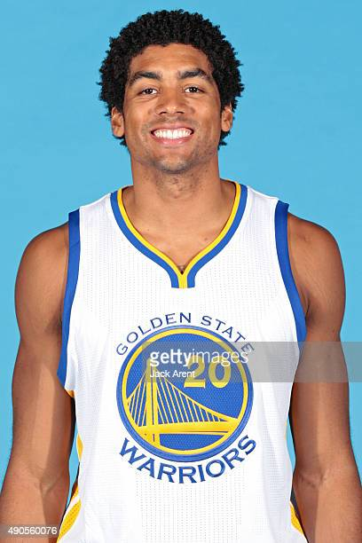 James Michael McAdoo of the Golden State Warriors poses for a head shot during media day on September 28 2015 at the Warriors practice facility in...