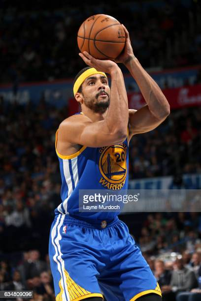 James Michael McAdoo of the Golden State Warriors shoots a free throw during the game against the Oklahoma City Thunder on February 11 2017 at...