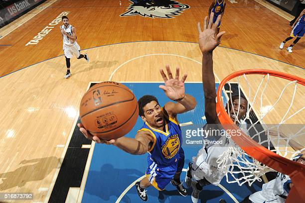 James Michael McAdoo of the Golden State Warriors shoots a layup against the Minnesota Timberwolves on March 21 2016 at Target Center in Minneapolis...