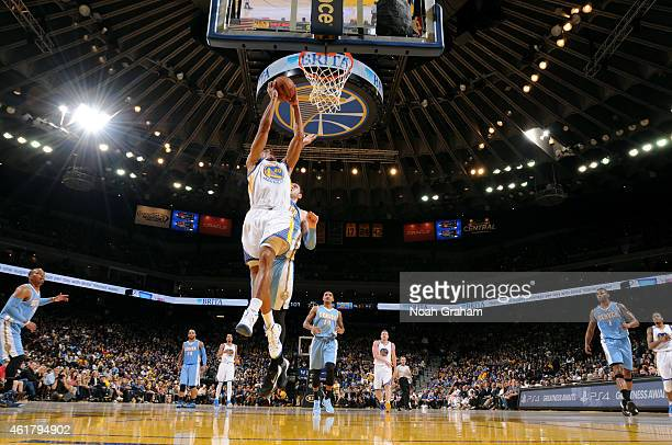 James Michael McAdoo of the Golden State Warriors shoots against the Denver Nuggets on January 19 2015 at Oracle Arena in Oakland California NOTE TO...