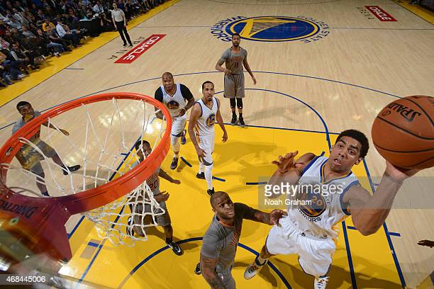 James Michael McAdoo of the Golden State Warriors shoots the ball against the Phoenix Suns on April 2 2015 at Oracle Arena in Oakland California NOTE...