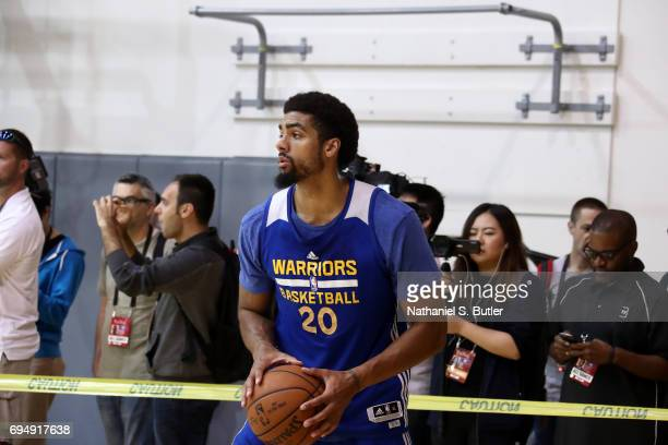 James Michael McAdoo of the Golden State Warriors shoots the ball during practice and media availability as part of the 2017 NBA Finals on June 11...