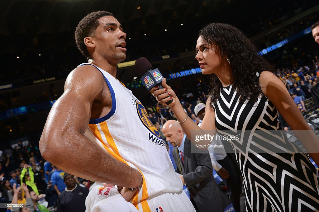 James Michael McAdoo #20 of the Golden State Warriors speaks to the media after a game against the Denver Nuggets on January 19, 2015 at Oracle Arena in Oakland, California.