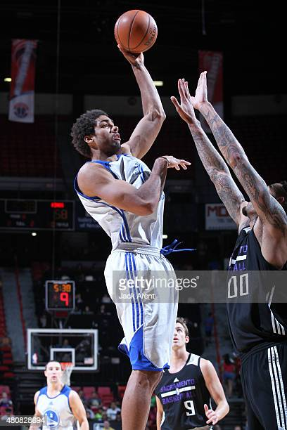 James Michael McAdoo of the Golden State Warriors takes a shot against the Sacramento Kings on July 15 2015 at the Thomas Mack Center in Las Vegas...