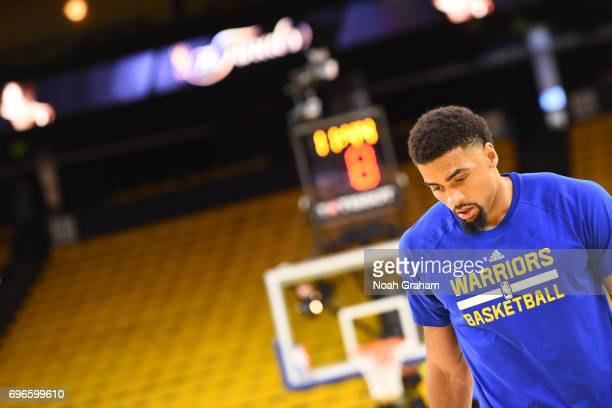 James Michael McAdoo of the Golden State Warriors warms up before Game Five of the 2017 NBA Finals against the Cleveland Cavaliers on June 12 2017 at...