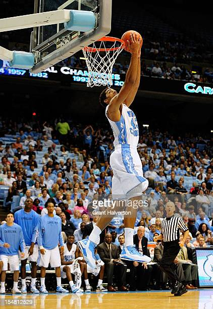 James Michael McAdoo of the North Carolina Tar Heels dunks against the Shaw Bears during play at the Dean Smith Center on October 26, 2012 in Chapel...