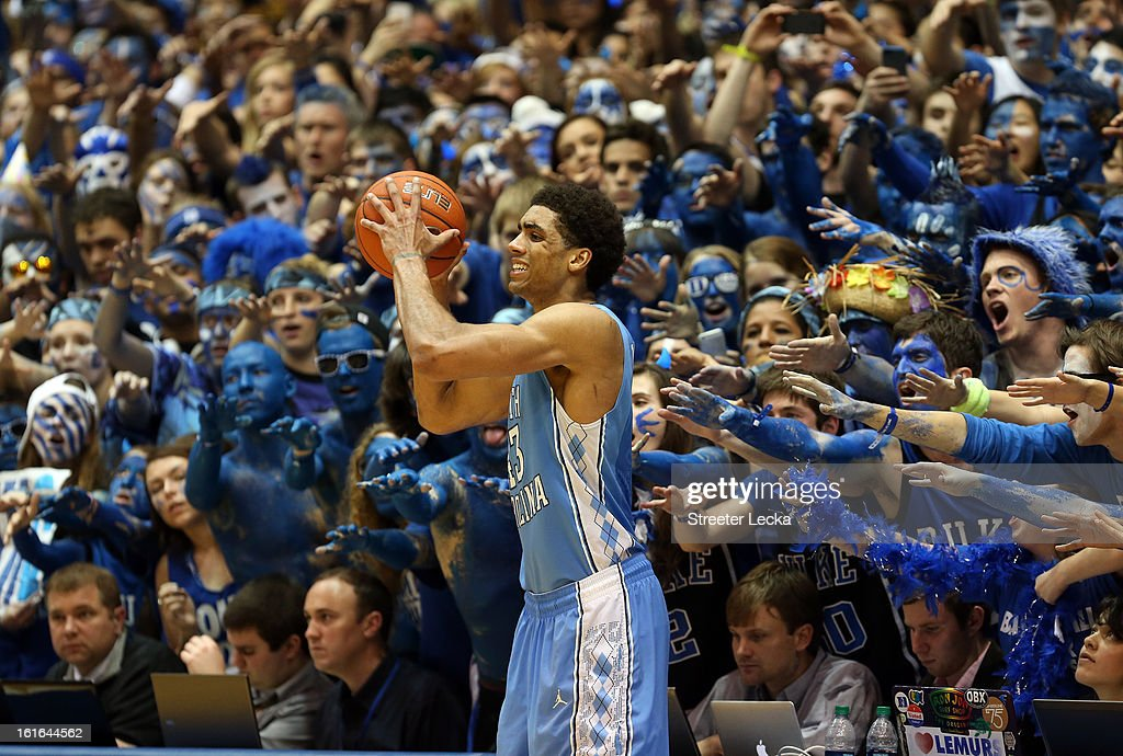 James Michael McAdoo #43 of the North Carolina Tar Heels looks to throw the ball inbounds against the Duke Blue Devils during their game at Cameron Indoor Stadium on February 13, 2013 in Durham, North Carolina.