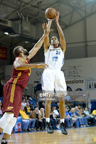 James Michael McAdoo of the Santa Cruz Warriors puts up a shot against the Canton Charge during the 2015 NBA DLeague Showcase presented by Samsung at...