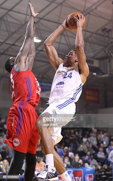 James Michael McAdoo of the Santa Cruz Warriors shoots the ball against the Grand Rapids Drive of the during the 2015 NBA DLeague Showcase presented...