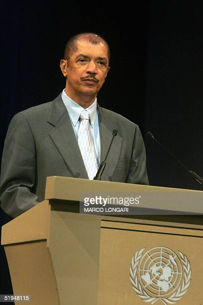 James Michel President of the Repubblic of Seychelles addresses 13 January 2005 the plenary session of the International UN summit on Developing...