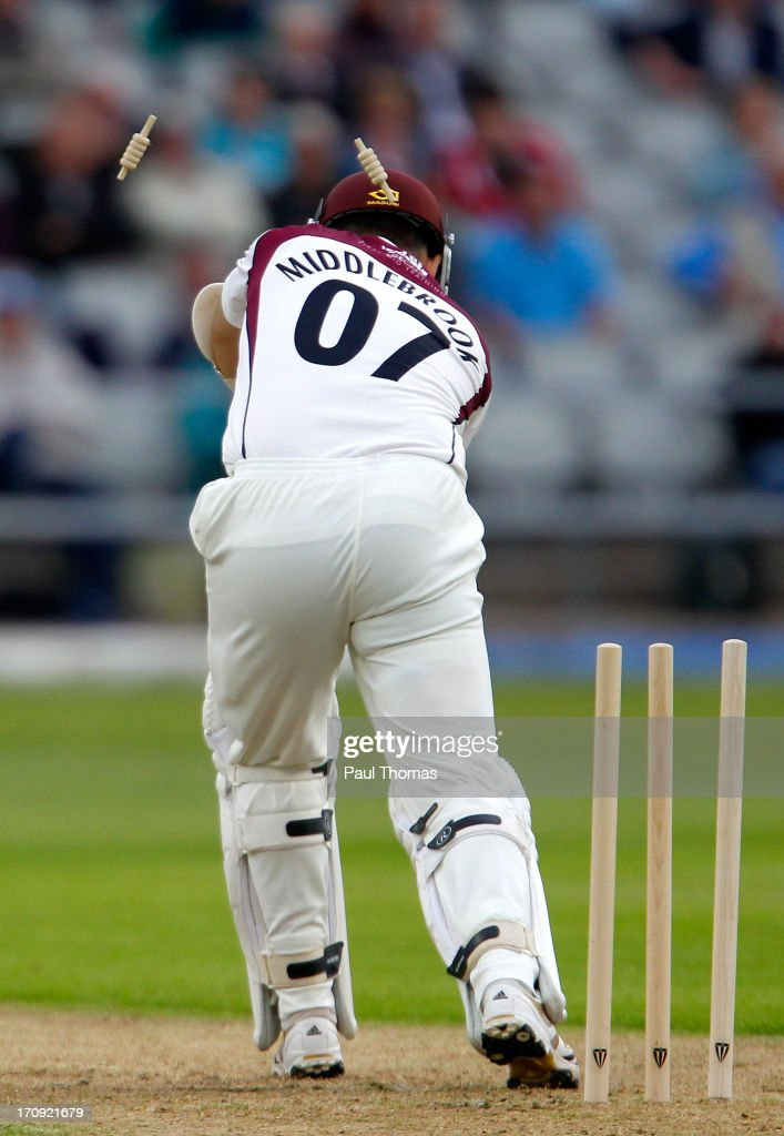 James Middlebrook of Northants is bowled by Lancashire's Glen Chapple (not pictured) during day one of the LV County Championship Division Two match between Lancashire and Northamptonshire at Old Trafford on June 20, 2013 in Manchester, England.