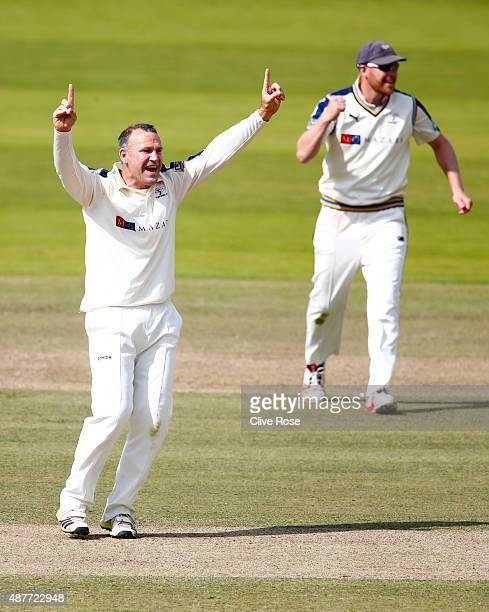 James Middlebrook of Yorkshire celebrates the wicket of Nick Compton of Middlesex during the LV County Championship between Middlesex and Yorkshire...