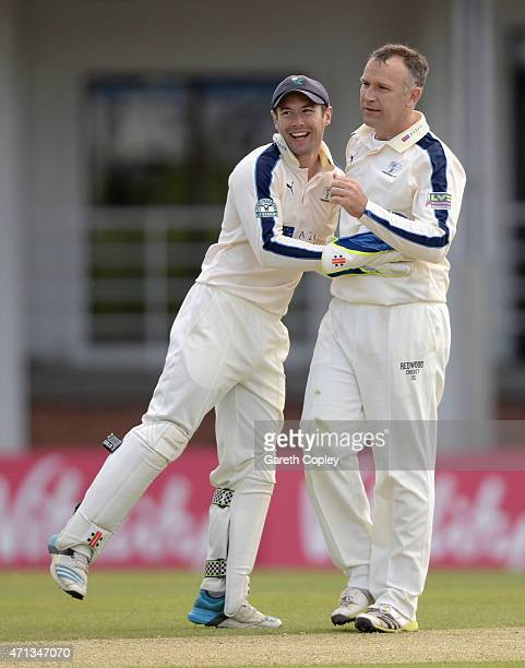 James Middlebrook of Yorkshire celebrates with Andy Hood after dismissing Keith Barker of Warwickshire during day two of the LV County Championship...