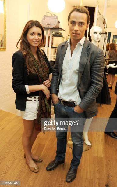 James Middleston and guest attend the Mischa Barton Boutique flagship store launch party at Old Spitalfields Market on August 8 2012 in London England
