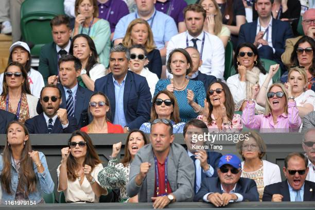 James Middleton, Alizee Thevenet, Carole Middleton and Pippa Middleton in the Royal Box during Men's Finals Day of the Wimbledon Tennis Championships...