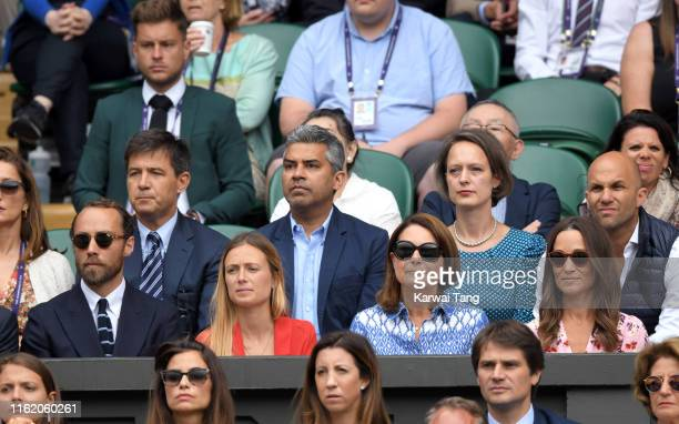 James Middleton, Alizee Thevenet, Carole Middleton and Pippa Middleton during Men's Finals Day of the Wimbledon Tennis Championships at All England...