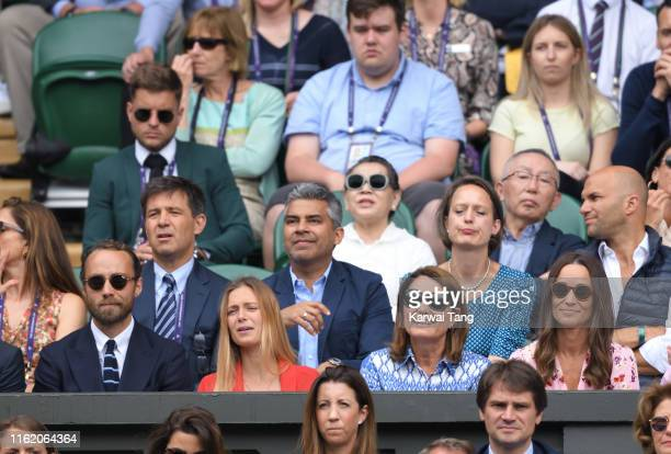 James Middleton Alizee Thevenet Carole Middleton and Pippa Middleton during Men's Finals Day of the Wimbledon Tennis Championships at All England...