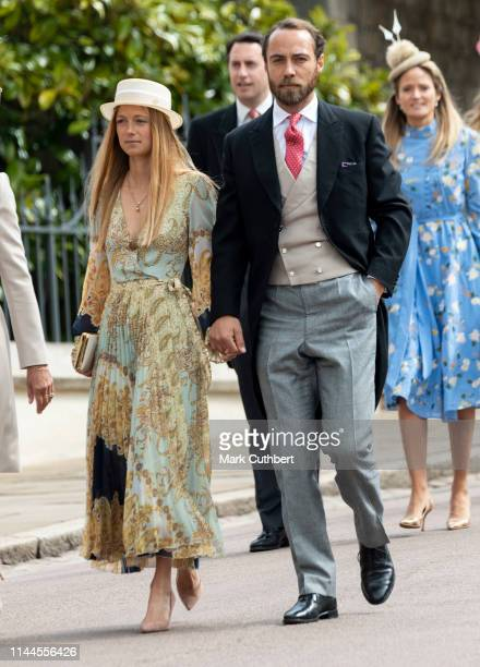 James Middleton and Alizee Thevenet attend the wedding of Lady Gabriella Windsor and Mr Thomas Kingston at St George's Chapel Windsor Castle on May...