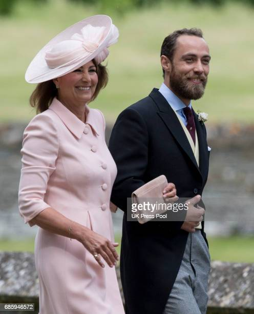 James Middleton and Carole Middleton attend the wedding of Pippa Middleton and James Matthews at St Mark's Church on May 20 2017 in Englefield Green...