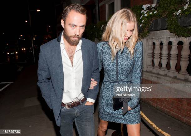 James Middleton and Donna Air sighted arriving at Ruski's Tavern, Kensington High Street on September 24, 2013 in London, England.