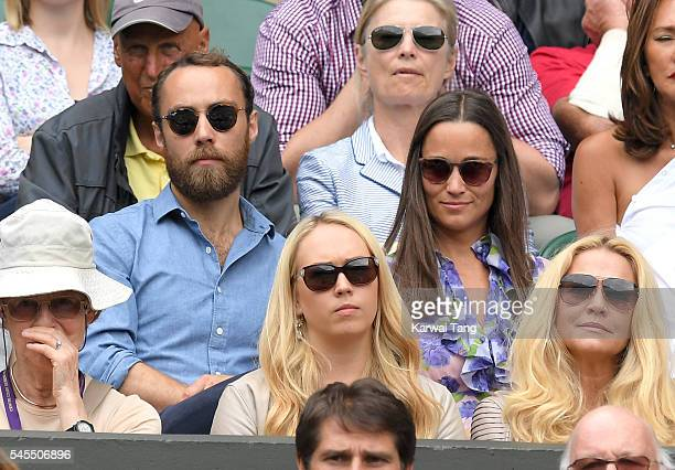 James Middleton and Pippa Middleton attend day eleven of the Wimbledon Tennis Championships at Wimbledon on July 08 2016 in London England