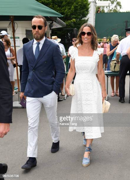 James Middleton and Pippa Middleton attend day four of the Wimbledon Tennis Championships at the All England Lawn Tennis and Croquet Club on July 5,...