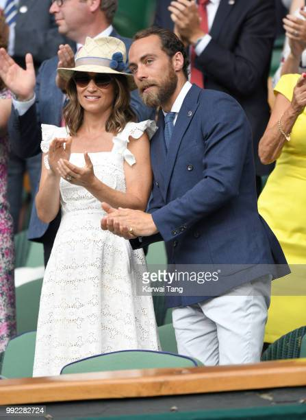 James Middleton and Pippa Middleton attend day four of the Wimbledon Tennis Championships at the All England Lawn Tennis and Croquet Club on July 5...