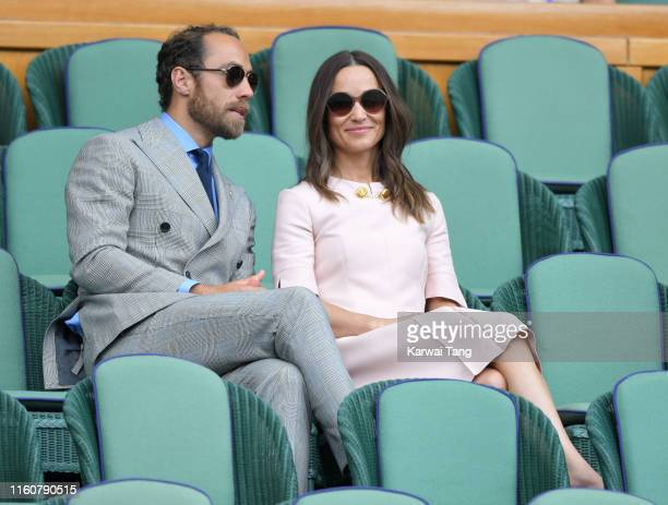 James Middleton and Pippa Middleton attend day seven of the Wimbledon Tennis Championships at All England Lawn Tennis and Croquet Club on July 08,...