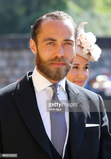 James Middleton arrives at St George's Chapel at Windsor Castle before the wedding of Prince Harry to Meghan Markle on May 19, 2018 in Windsor,...