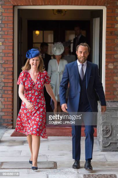 James Middleton brother of Britain's Catherine Duchess of Cambridge and Lady Laura Marsham arrive for the christening of Britain's Prince Louis of...
