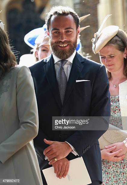 James Middleton leaves the Church of St Mary Magdalene on the Sandringham Estate for the Christening of Princess Charlotte of Cambridge on July 5,...