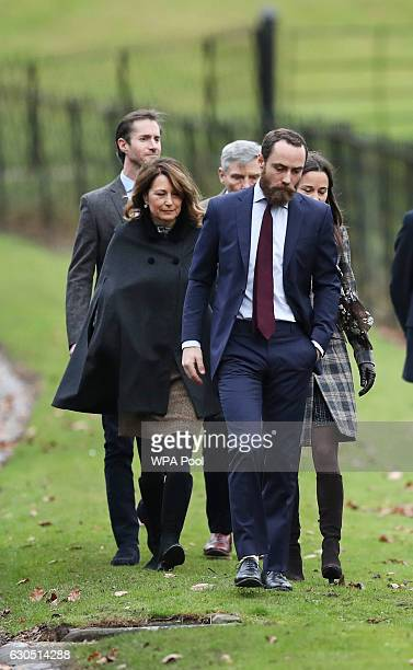 James Middleton Pippa Middleton Carole Middleton James Matthews and Michael Middleton arrive to attend the service at St Mark's Church on Christmas...