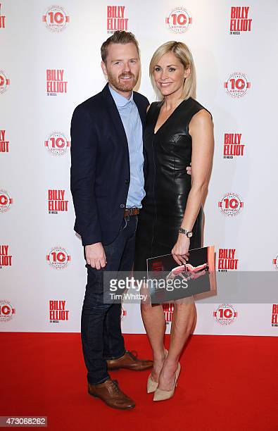 James Midgley and Jenni Falconer arrive for the 10 Year Anniversary performance of Billy Elliot at Victoria Palace Theatre on May 12 2015 in London...