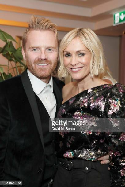 James Midgley and Jenni Falconer attend Casamigos Tequila 'Day of the Dead' VIP party at The Mandrake Hotel on November 01 2019 in London England