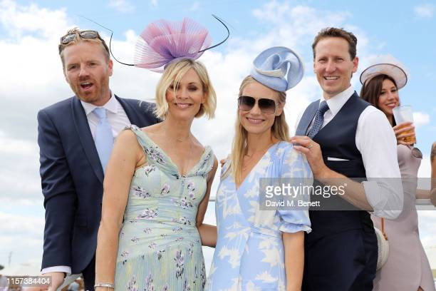 James Midgley Jenni Falconer Zoe Cole and Brendan Cole in the Village Enclosure on day 4 of Royal Ascot at Ascot Racecourse on June 21 2019 in Ascot...