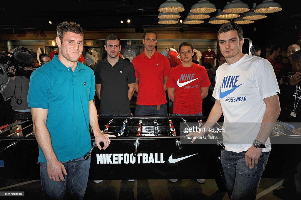 ) James Milner, Adam Johnson, Rio Ferdinand, Javier Hernandez and Darron Gibson attend the opening of Nike's first football only store in the world, on Market Street on November 11, 2010 in Manchester, England. The Nike Football Store has been expanded over two floors and is dedicated purely to football, football services and experiences to give fans the very best of Nike Football product.