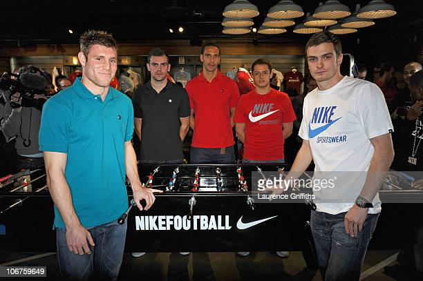 James Milner Adam Johnson Rio Ferdinand Javier Hernandez and Darron Gibson attend the opening of Nike's first football only store in the world on...