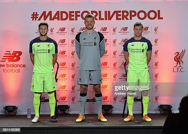 James Milner Adam Lallana and Simon Mignolet of Liverpool during the launch of the new third kit at the Facebook Village on July 28 2016 in Palo Alto...