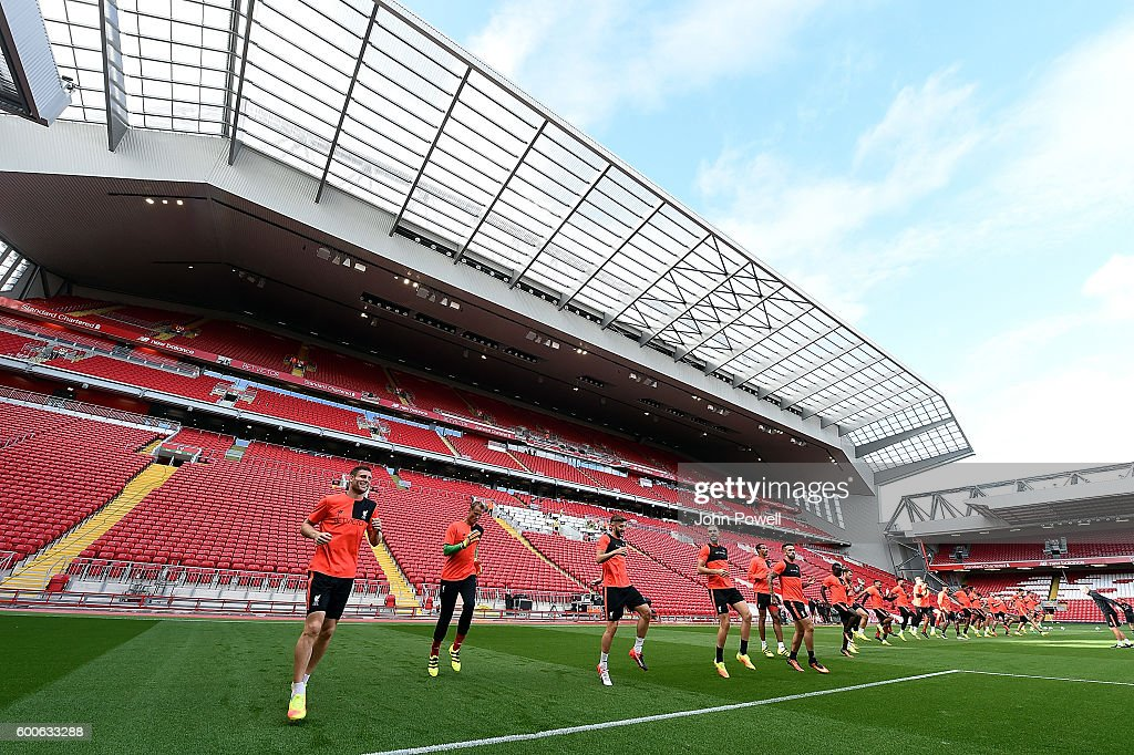 James Milner, Alex Manninger, Adam Lallana and Jordan Henderson of Liverpool during a training session at Anfield on September 8, 2016 in Liverpool, England.