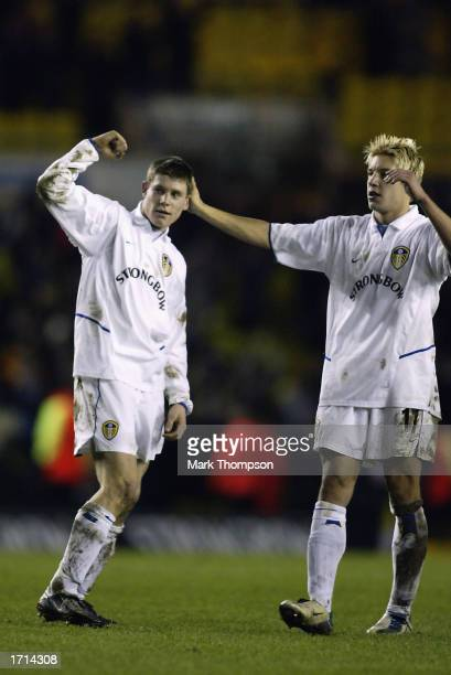 James Milner and Alan Smith of Leeds United celebrate victory during the FA Barclaycard Premiership match between Leeds United and Chelsea held on...