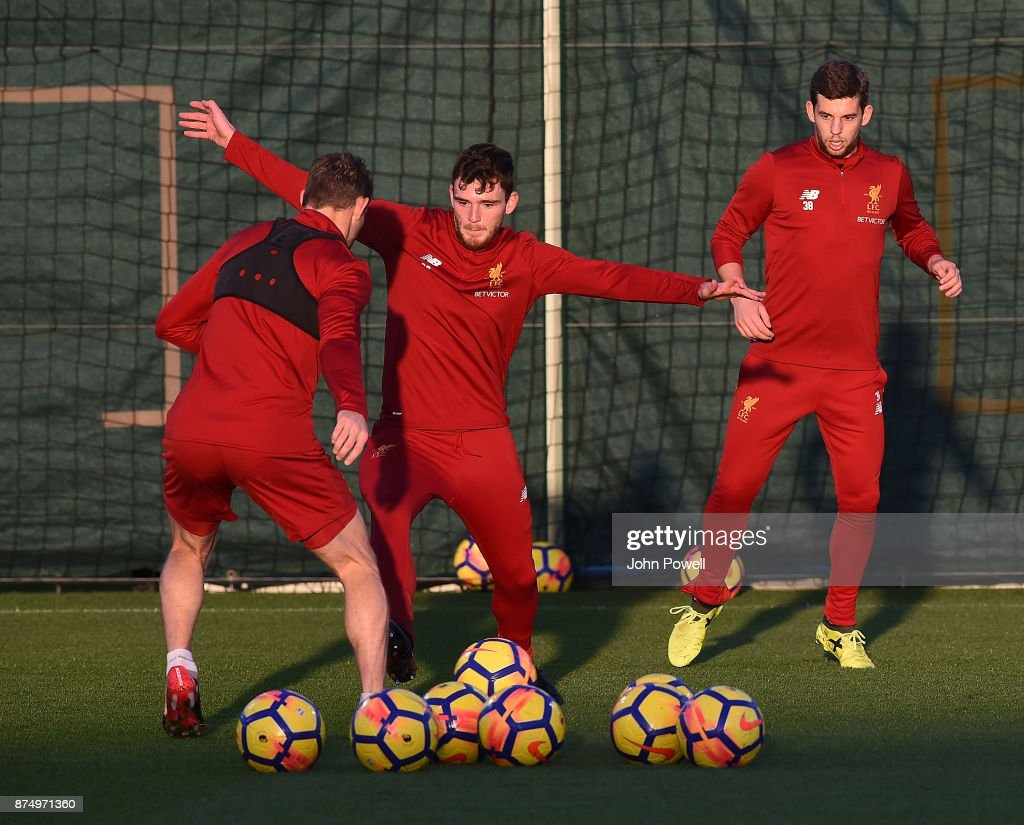 James Milner and Andrew Robertson of Liverpool during a training session at Melwood Training Ground on November 16, 2017 in Liverpool, England.
