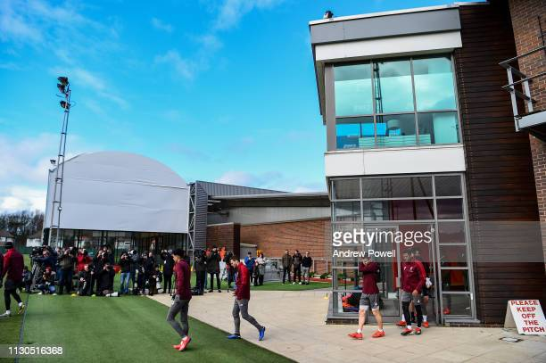 James Milner and Gerginio Wijnaldum of Liverpool during a training session at Melwood training ground on February 18 2019 in Liverpool England