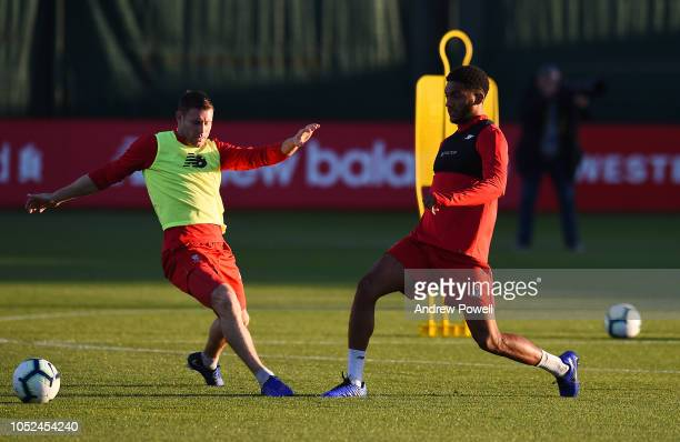 James Milner and Joe Gomez of Liverpool during a training session at Melwood Training Ground on October 18 2018 in Liverpool England