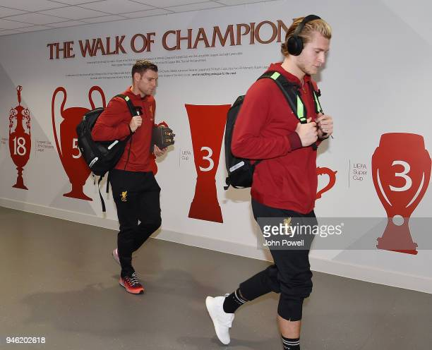James Milner and Loris Karius of Liverpool arrives before the Premier League match between Liverpool and AFC Bournemouth at Anfield on April 14 2018...