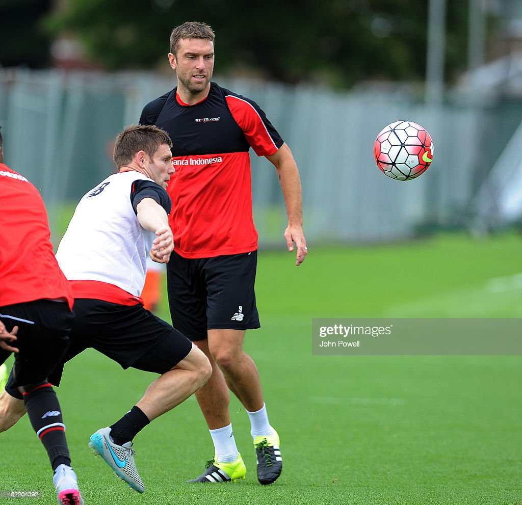 James Milner and Rickie Lambert of Liverpool during a Liverpool FC training session at Melwood Training Ground on July 28, 2015 in Liverpool, England.