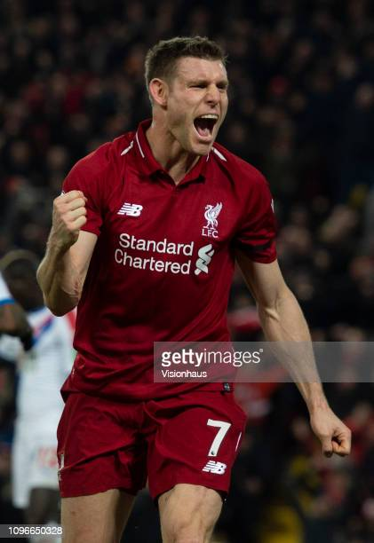 James Milner celebrates after the third goal during the Premier League match between Liverpool FC and Crystal Palace at Anfield on January 19 2019 in...