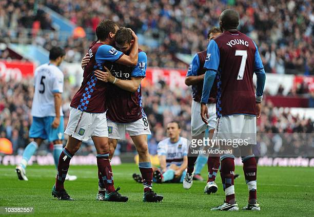 James Milner of Aston Villa celebrates his goal with Marc Albrighton during the Barclays Premier League match between Aston Villa and West Ham United...