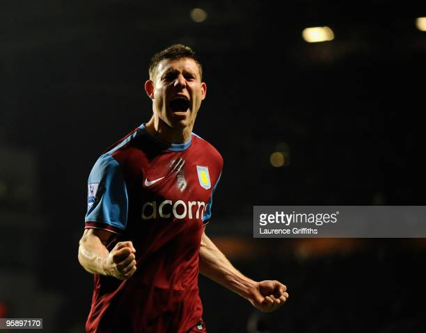 James Milner of Aston Villa celebrates scoring during the Carling Cup Semi Final 2nd Leg match between Aston Villa and Blackburn Rovers at Villa Park...