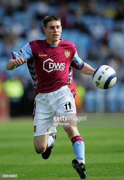 James Milner of Aston Villa on the ball during the Barclays Premiership match between Aston Villa and Middlesbrough at Villa Park on October 2 2005...